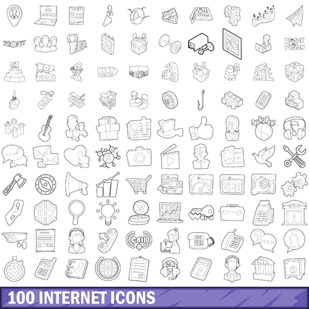100 internet icons set in outline style for any design vector illustration Фото со стока - 78180004