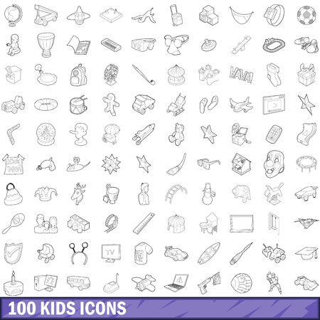 cute bear: 100 kids icons set, outline style