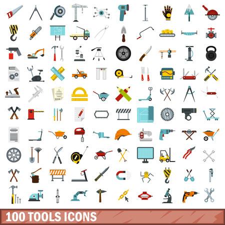 100 tools icons set, flat style Illustration