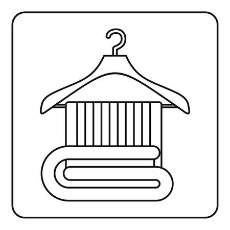 soft sell: Towel on a wooden coat hanger icon in outline style isolated vector illustration Illustration
