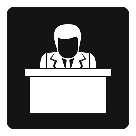convention: Orator speaking from tribune icon in simple style isolated vector illustration