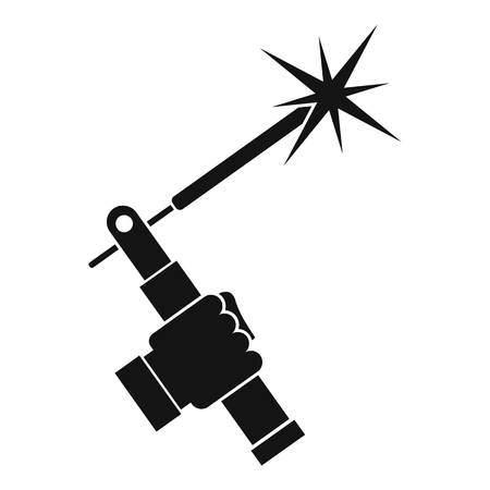 welding torch in hand icon in simple style isolated vector illustration