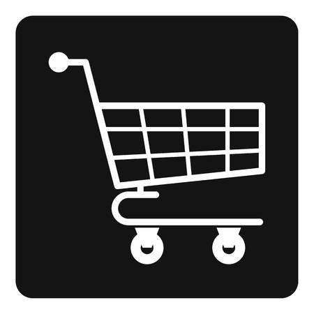 Shopping cart icon in simple style isolated vector illustration