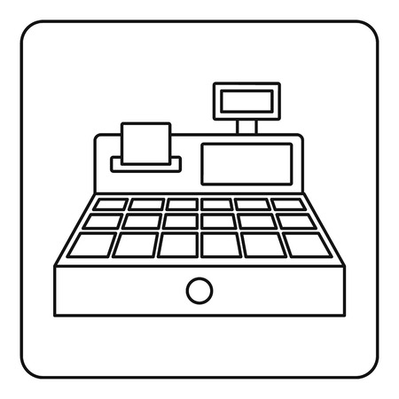 departmental: Sale cash register icon in outline style isolated vector illustration
