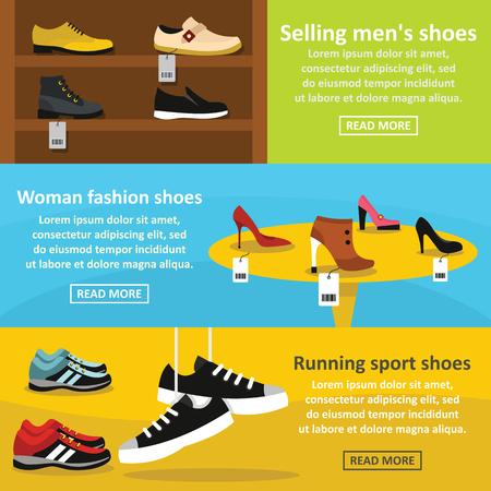 Shoes fasion banner horizontal set, flat style