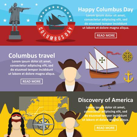 Columbus Day banner horizontal set, flat style