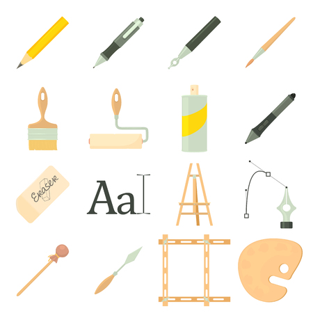 Drawing tools icons set, cartoon style