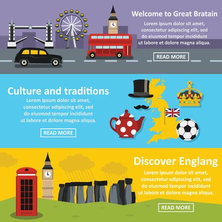 England travel banner horizonatal set, flat style Illustration