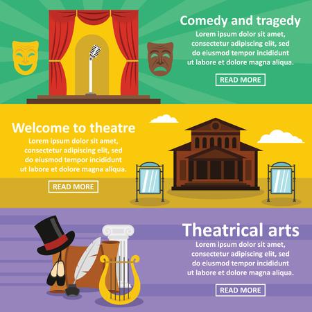 Theatre art banner horizonatal set, flat style Illustration