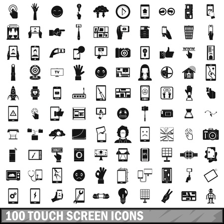 laptop repair: 100 touch screen icons set, simple style Illustration