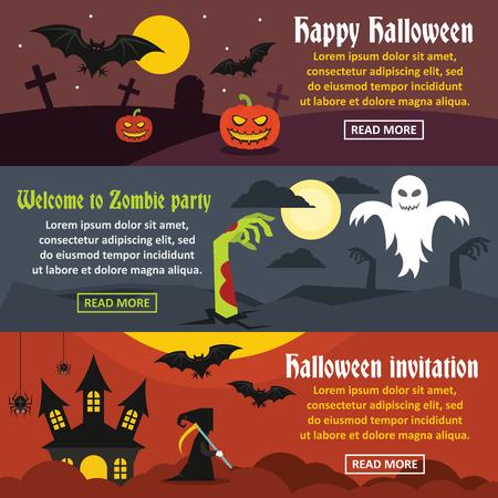 Happy Halloween banner horizonatal set, flat style Illustration