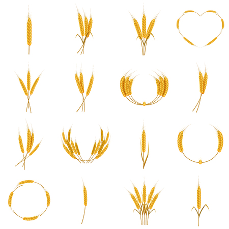 Ear corn food icons set, cartoon style