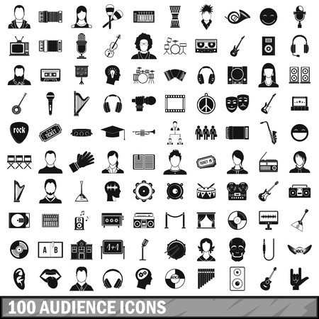100 audience icons set, simple style