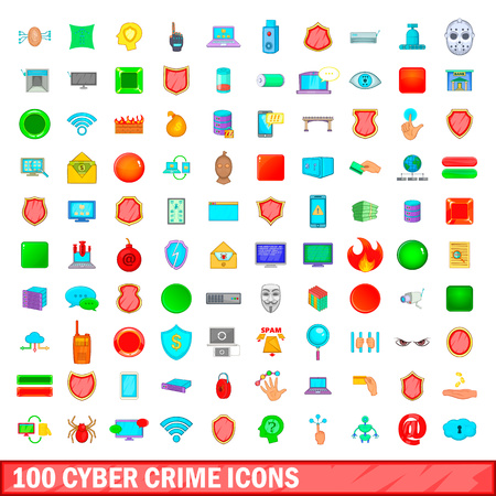 100 cyber crime icons set, cartoon style