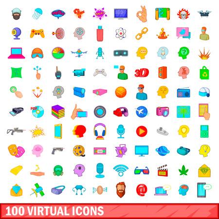 100 virtual icons set, cartoon style Illustration