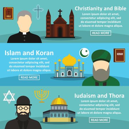 De banner horizontale reeks van de godsdienst, vlakke stijl