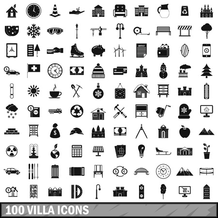 100 villa icons set in simple style for any design vector illustration Ilustração