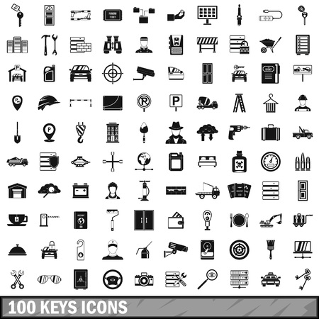 bullet camera: 100 keys icons set in simple style for any design vector illustration Illustration