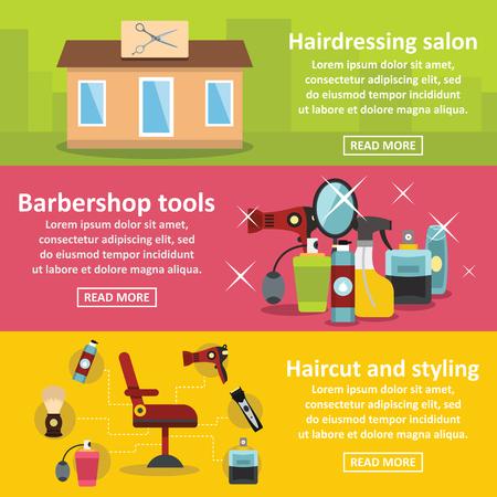 haircutting: Hairdressing banner horizontal concept set. Flat illustration of 3 hairdressing vector banner horizontal concepts for web