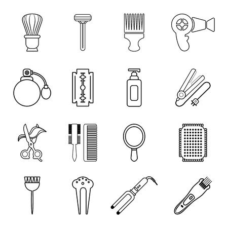 haircutting: Hairdresser icons set. Outline illustration of 16 hairdresser vector icons for web Illustration