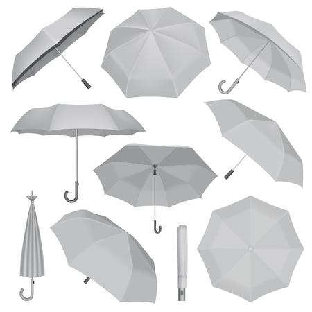 Umbrella mockup set. Realistic illustration of 10 umbrella mockups for web Vectores