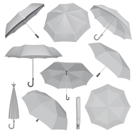 Umbrella mockup set. Realistic illustration of 10 umbrella mockups for web