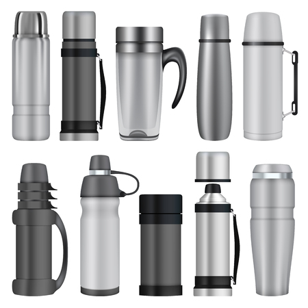 Thermos mockup set. Realistic illustration of 10 thermos mockups for web Illustration
