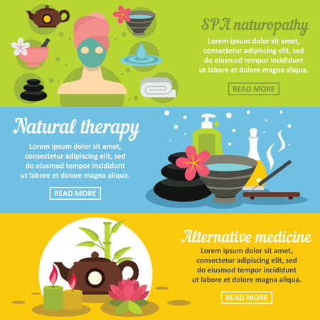 SPA care banner horizontal concept set. Flat illustration of 3 SPA care vector banner horizontal concepts for web