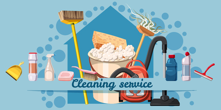 Cleaning service banner horizontal concept. Cartoon illustration of cleaning service banner horizontal vector concept for web Vectores