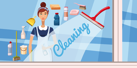 cleaning crew: Cleaning girl banner horizontal concept. Cartoon illustration of cleaning girl banner horizontal vector concept for web