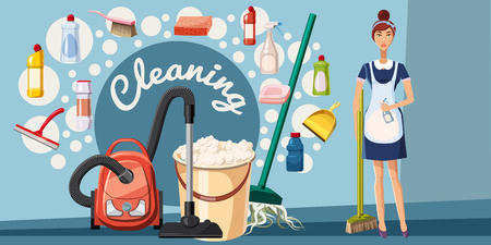 cleaning crew: Cleaning tools banner horizontal concept. Cartoon illustration of cleaning tools banner horizontal vector concept for web