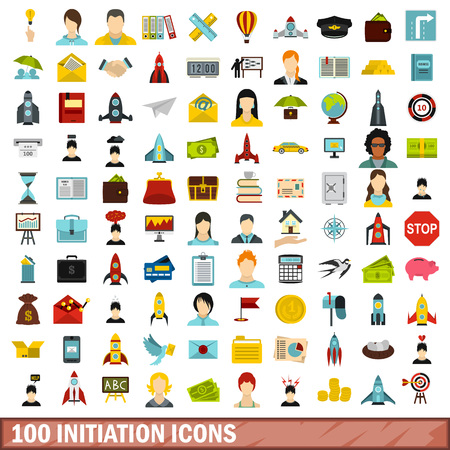100 initiation icons set in flat style for any design vector illustration