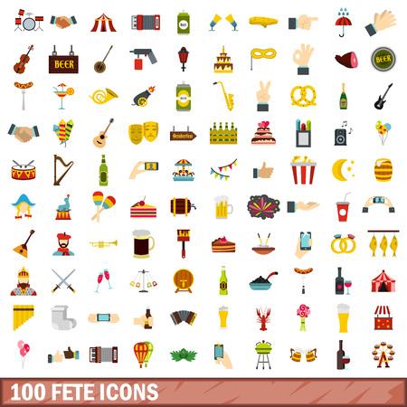 100 Festikonen stellten in flache Art für jede Designvektorillustration ein