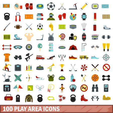 surf team: 100 play area icons set, flat style