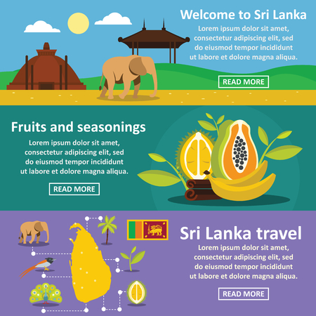 Sri Lanka travel banner horizontal set, flat style