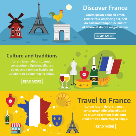 France travel banner horizontal set, flat style