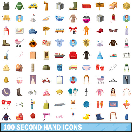100 second hand icons set, cartoon style Illustration