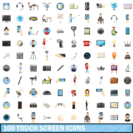 100 touch screen icons set, cartoon style Vettoriali
