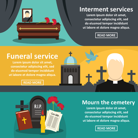 Funeral service banner horizontal set, flat style