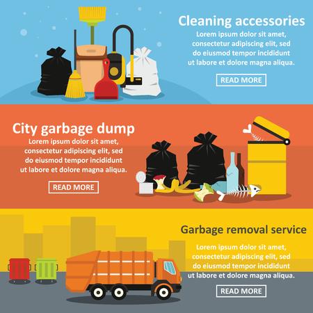 Garbage service banner horizontal set, flat style