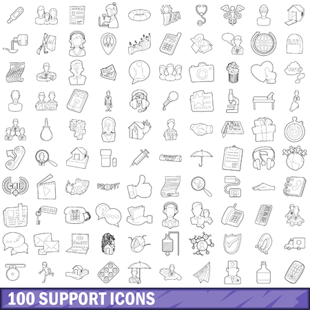 med: 100 support icons set, outline style