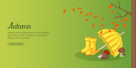 Autumn time banner horizontal man, cartoon style Illustration