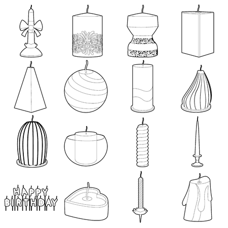 vigil: Candle forms icons set, outline style