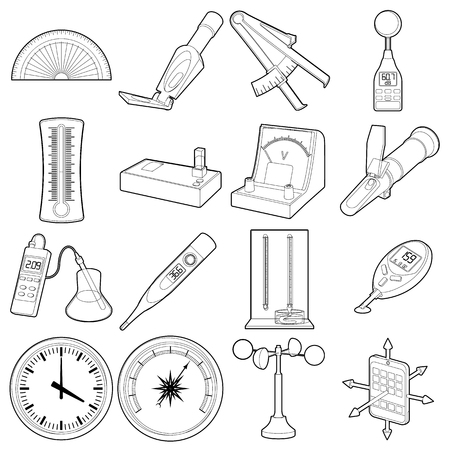 Measure tools icons set, outline style Vector Illustration