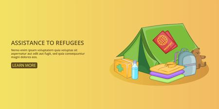 Refugees kit banner horizontal man, cartoon style Иллюстрация