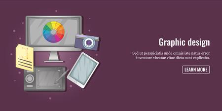 polygraph: Graphic tools banner horizontal man, cartoon style Illustration