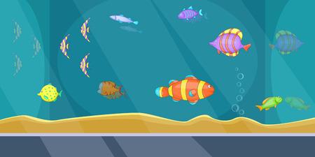 Aquarium banner horizontal man, cartoon style