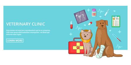 Vet clinic banner horizontal man, cartoon style