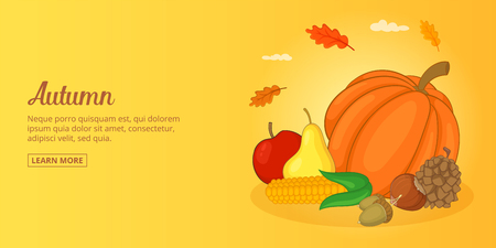 Autumn foods banner horizontal man, cartoon style