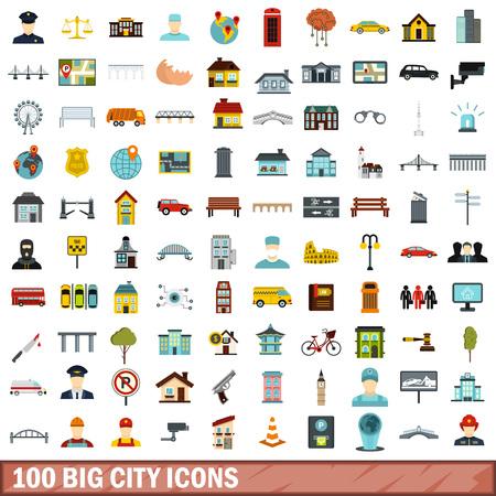 100 big city icons set, flat style